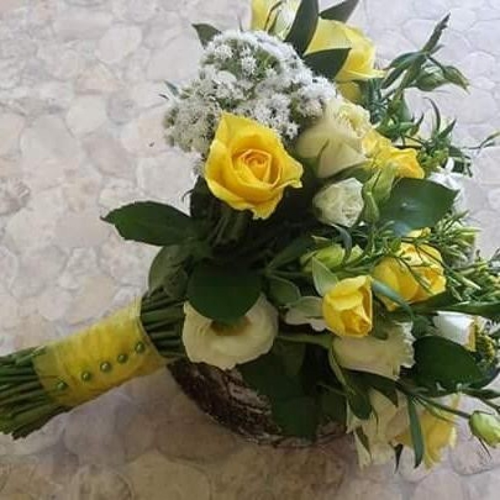 Yellow And White Wedding Posy Gallery Flowers