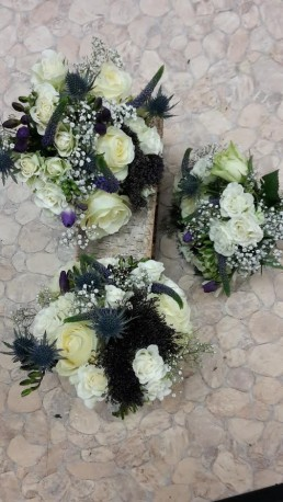Cream Roses and Blue Thistle Posy