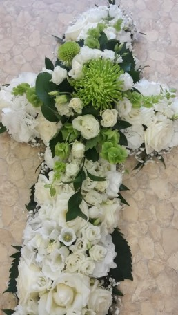 White Cream and Green Funeral Cross