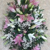 Pink and White Lily Coffin Spray