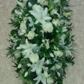 White Lily and Cream Rose Coffin Spray